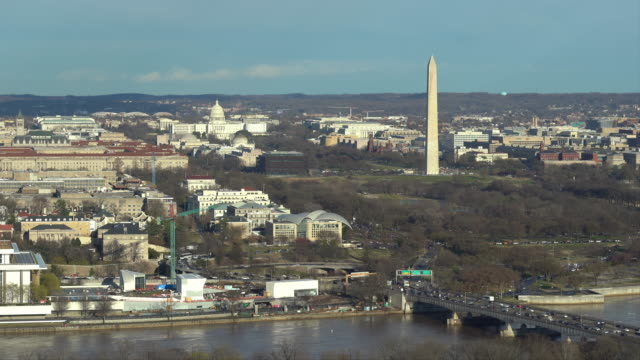 Aerial high angle view of Washington DC National Mall with Lincoln Memorial Washington Monument and United States Capitol. USA Landmark and travel destination concept