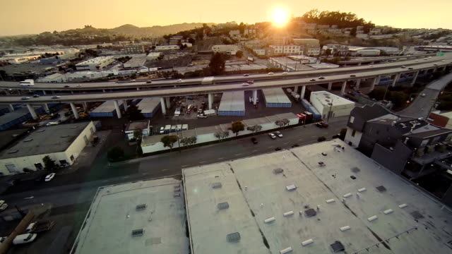 Aerial Highway at Sunset in San Francisco video