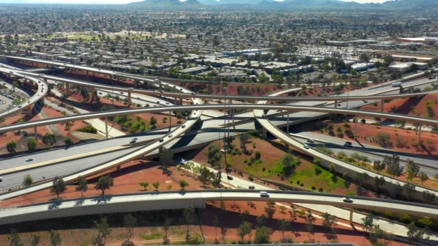 Aerial highway interchange Phoenix AZ Aerial highway interchange Phoenix AZ b roll stock videos & royalty-free footage
