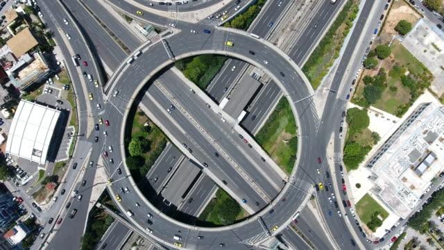 Aerial highway junction video