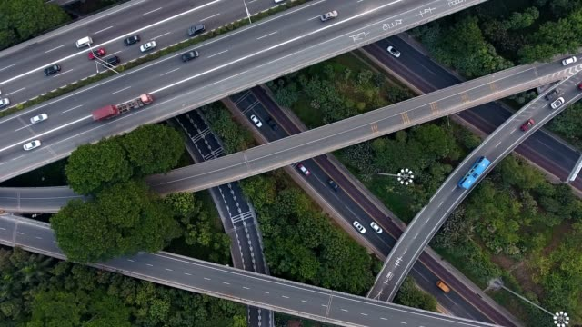 Aerial highway junction - video