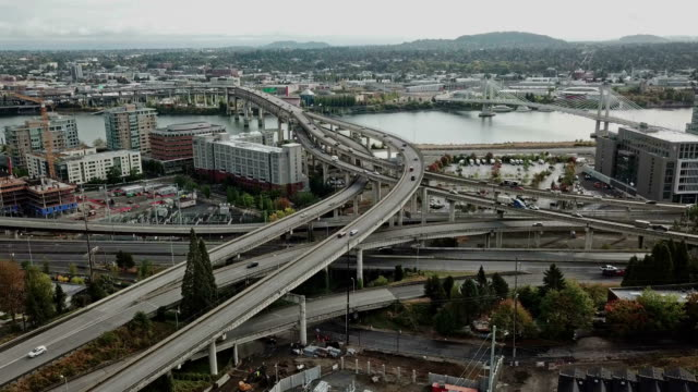 Aerial hyper lapse of Portland highway and bridge video