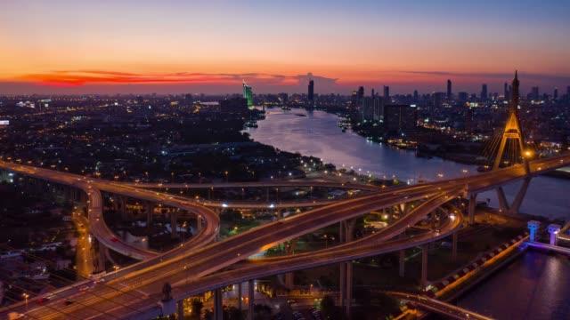 Hyper-lapse aérien 4K sur le pont Bhumibol traverse la rivière Chao Phraya - Vidéo