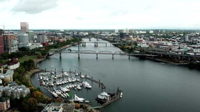 Aerial hyper time lapse of Portland river and bridges video