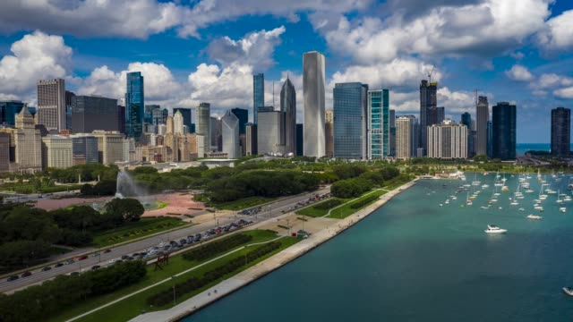 Aerial Hyperlapse of Chicago, Illinois Aerial Hyperlapse of Chicago on a sunny day. chicago stock videos & royalty-free footage