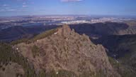 istock Aerial hyperlapse of spring Siberian city Krasnoyarsk Russia. Rocks and forest in the Pillars National Nature Park with a view of the metropolis. 1317826504