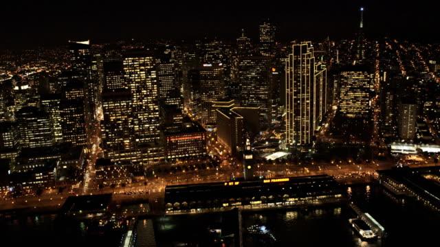 Aerial illuminated view Port area San Francisco USA video