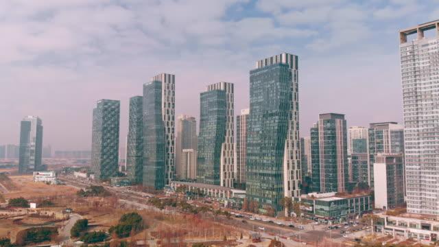 aerial incheon songdo korea - corea del sud video stock e b–roll