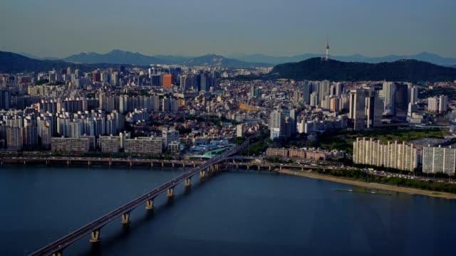 Aerial Korea Seoul April 2017 Seoul Tower Sunny Day fs7 gyeongbokgung stock videos & royalty-free footage