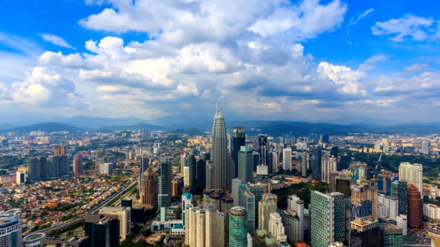 aerial kuala lumpur cityscape of malaysia 4k time lapse (zoom out) - malese video stock e b–roll