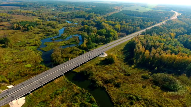 Aerial landscape of cars driving on highway road in nature. Highway road video