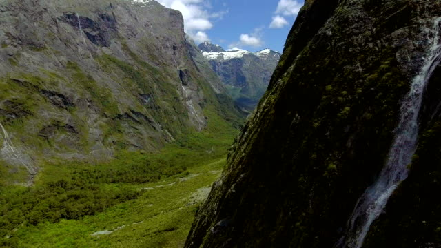 Aerial Landscape of New Zealand Fiordland on the Way to Milford Sound video