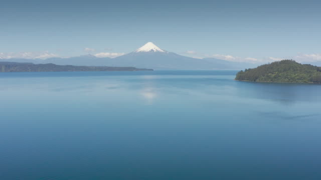 Aerial landscape of Osorno Volcano and Llanquihue Lake - Puerto Varas, Chile, South America