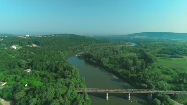 Aerial landscape view in countryside area. 4K.