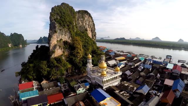 Aerial landscape view Koh Panyee village and Ao Phang nga National Park video