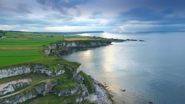 Aerial landscape view of the sea and the cliff in Ireland video
