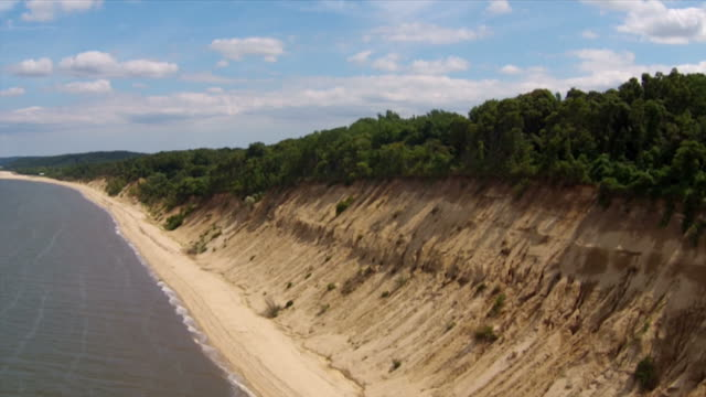 Aerial Long Island Northshore: Beach and SandCliff video