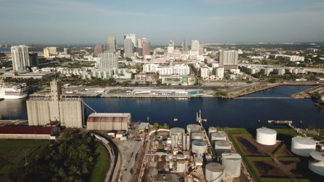 Aerial Look at the Sea Port Waterfront Area Downtown Tampa Bay Florida Large ships are allowed to access the docks with help at the Port of Tampa Florida USA florida us state stock videos & royalty-free footage