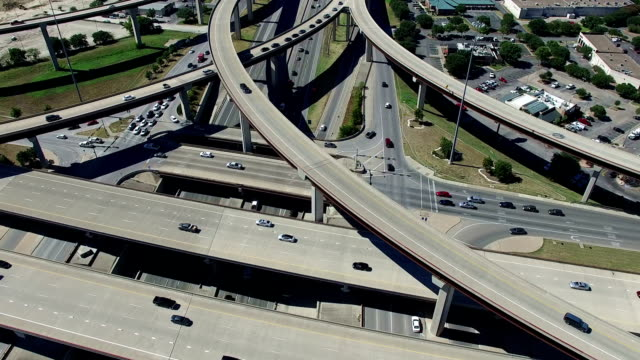 Aerial Looking down at Highways and Interchange in the Austin / Round Rock Texas Freeway System close in video