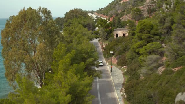 Aerial - Loutraki - Greece, forward take from high to low of a coastal road with palm trees and a waterfall video