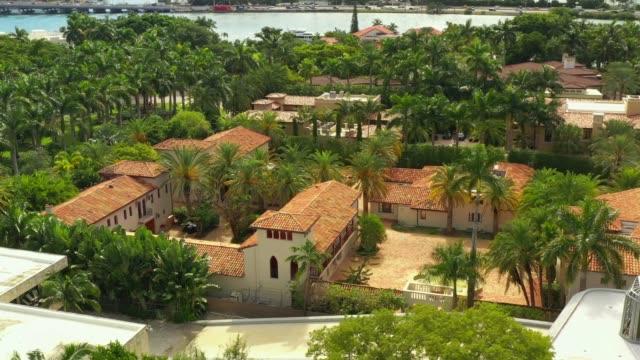 Aerial luxury Florida waterfront real estate
