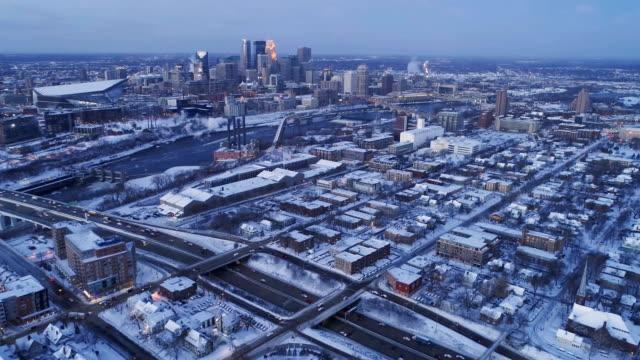 空中 - 降雪の後ミネアポリス ビデオ