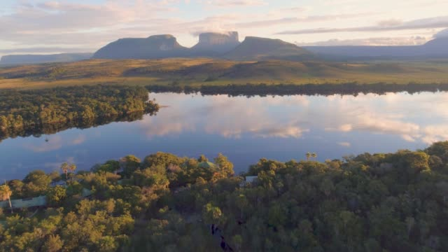 aerial  morning view of canaima national park tepuis and the carrao river at ucaima - south america travel stock videos and b-roll footage