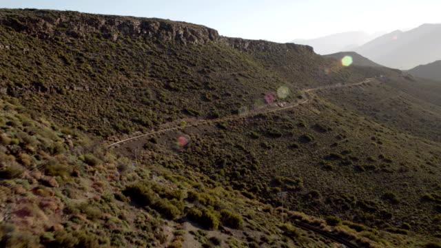 Aerial mountain railway track video