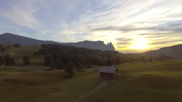Aerial Mountain range at sunset