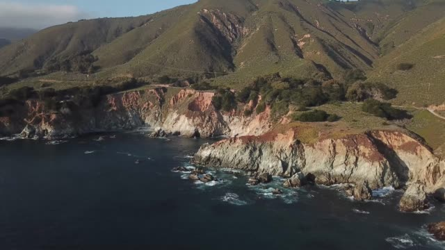 aerial , mountains on the shore of the ocean