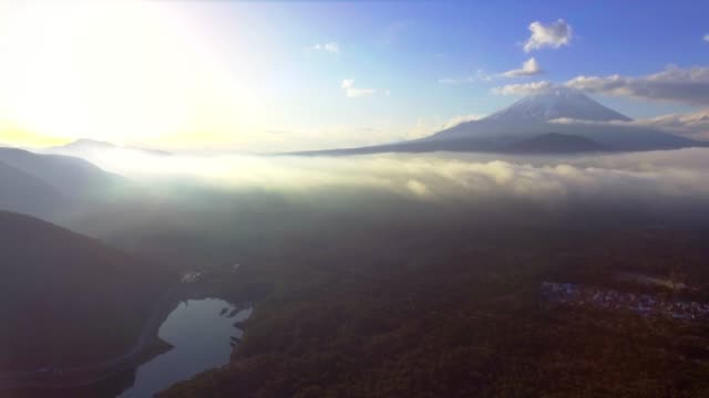 Aerial Mt.Fuji with Cloudy at sunrise