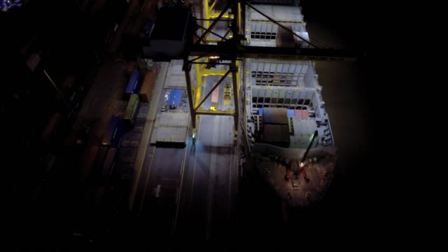 Aerial night view of the illuminated Container Port video
