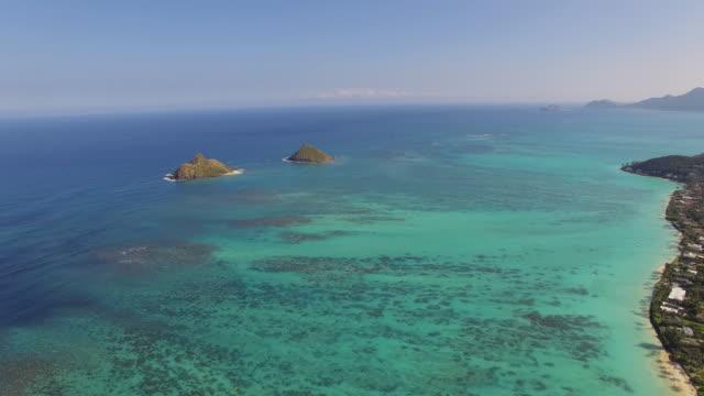 Aerial Oahu Moku Nui and Moku Iki Islands video