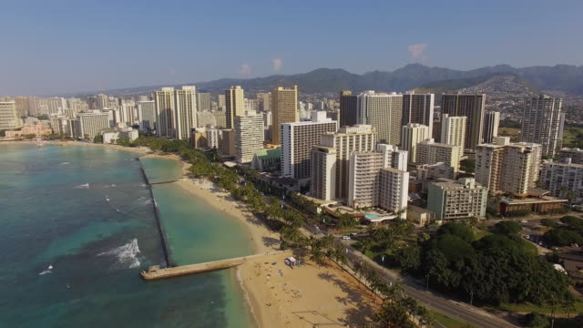 Aerial Oahu Waikiki Honolulu, Hawaii video