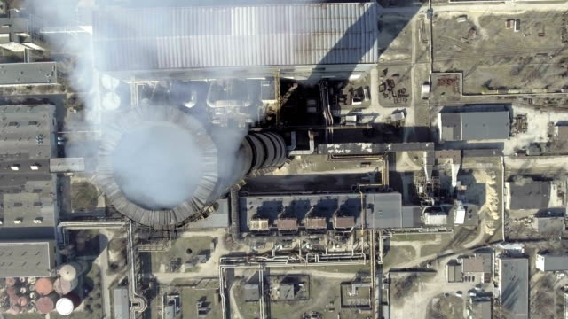 Aerial of a coal fire power station.top view.