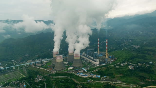 Aerial of a power station,Guizhou,China. Aerial of a power station,Guizhou,China. manufacturing equipment stock videos & royalty-free footage