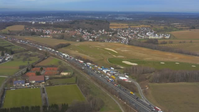 aerial of autobahn a8 and hohenwettersbach close to karlsruhe - autobahn video stock e b–roll