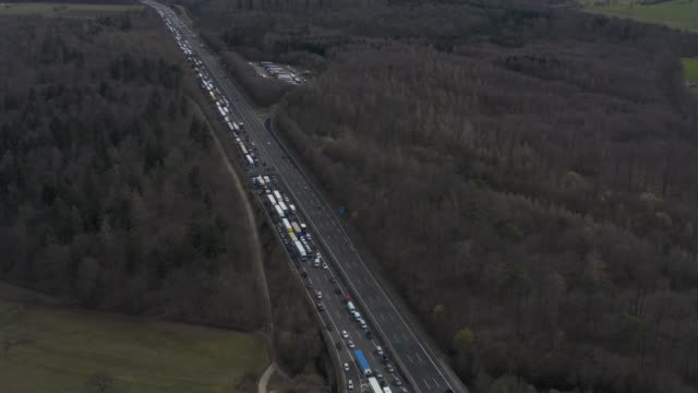 aerial of autobahn a8 close to karlsruhe - autobahn video stock e b–roll