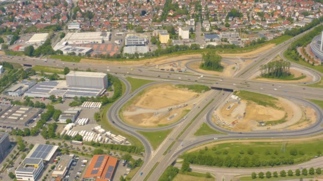 Aerial of Autobahn, Freeway cross roads close to Neckarsulm video