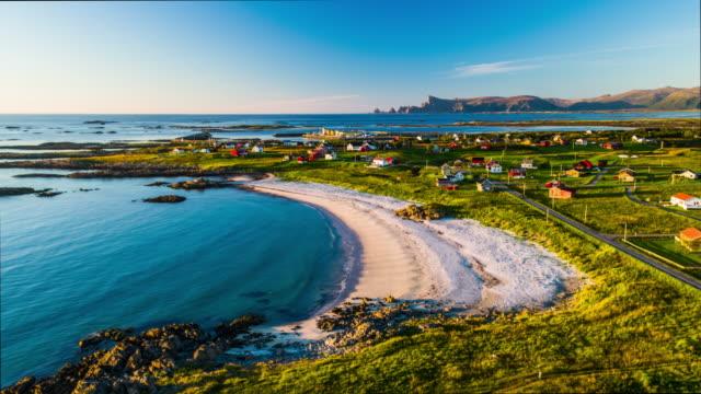 vídeos de stock e filmes b-roll de aerial of beach at the lofoten islands in norway - lofoten