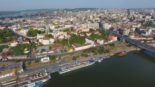 aerial of belgrade city and sava river in serbia - serbia video stock e b–roll