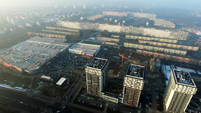 Aerial Of Blocks Of Flats In Residential District