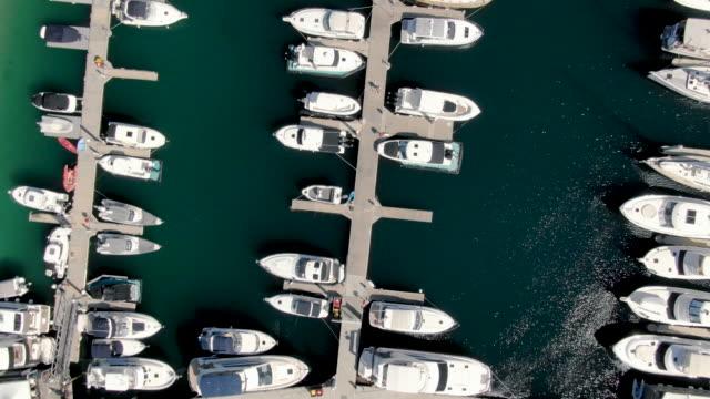 vídeos de stock, filmes e b-roll de antena de barcos ancorados em um iate clube tiro vertical - marina
