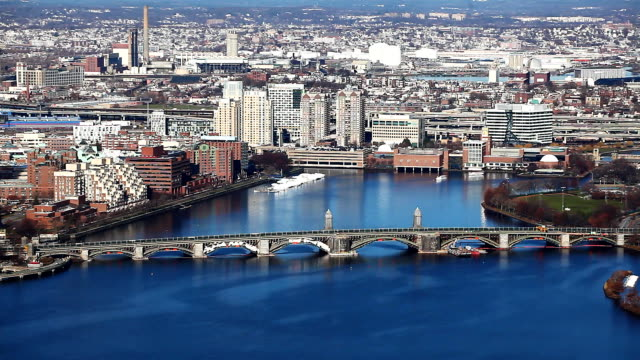 Aerial of Boston, Massachusetts along the Charles River video