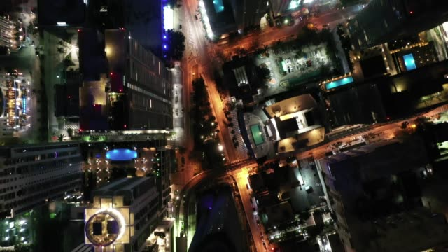 Aerial of Brickell, Downtown Miami, Florida at Night