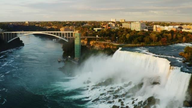 Aerial of bridges over Niagara Falls