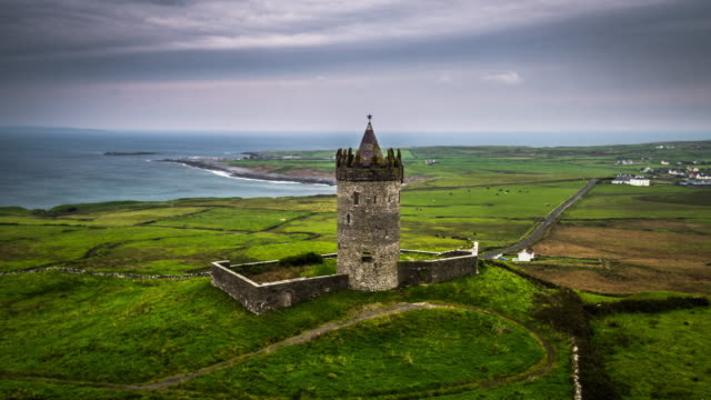 Aerial of Castle in idyllic landscape in Ireland video
