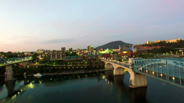 Aerial Of Chattanooga River Front At Sunrise video