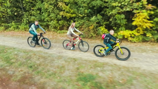 Aerial of cheerful family on bike ride near forest video