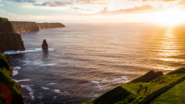 Aerial of Cliffs of Moher at sunset, Ireland video